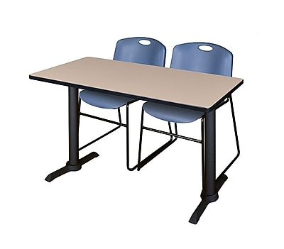 Regency Cain 48'' Rectangular Training Table and Chairs, Woodtone w/ Zeng Chairs (MTRCT4824BE44BE)