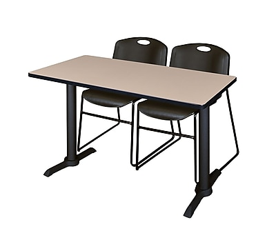Regency Cain 48'' Rectangular Training Table and Chairs, Woodtone w/ Stack Chairs (MTRCT4824BE44BK)