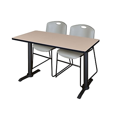 Regency Cain 48'' Rectangular Training Table and Chairs, Gray with Zeng Chairs (MTRCT4824BE44GY)
