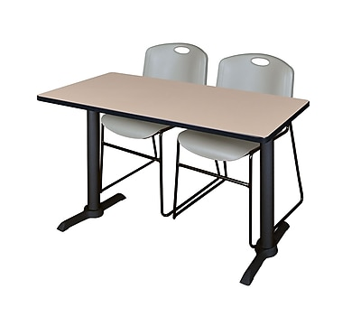 Regency Cain 48'' Rectangular Training Table and Chairs, Gray w/ Zeng Chairs (MTRCT4824BE44GY)