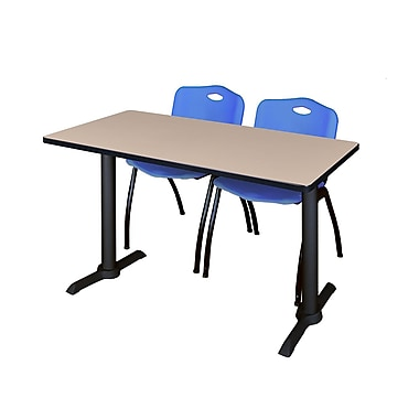 Regency 48'' Rectangular Training Table and Chairs, Beige with Stack Chairs, Blue (MTRCT4824BE47BE)