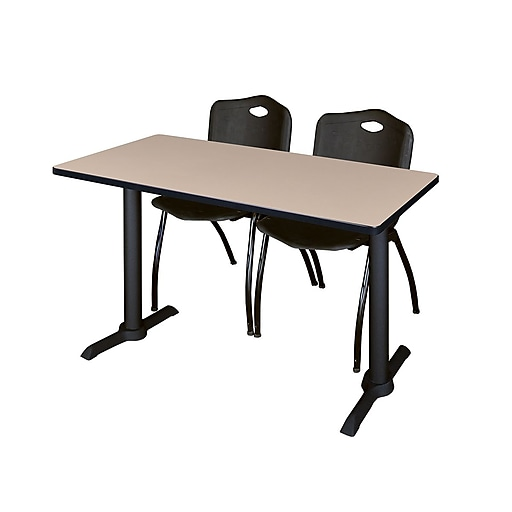 Regency 48-inch Metal & Wood Beige Computer Table with Stack Chairs, Black