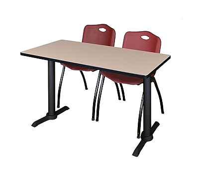 Regency 48'' Rectangular Training Table and Chairs, Beige w/ Stack Chairs (MTRCT4824BE47BY)