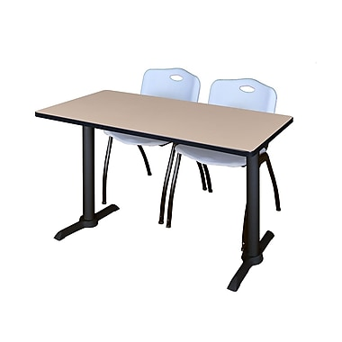 Regency 48-inch Metal & Wood Beige Computer Table with Stack Chairs, Gray