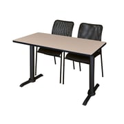 Regency Cain 48'' Rectangular Training Table and Chairs, Beige w/ Mario Chairs (MTRCT4824BE75BK)
