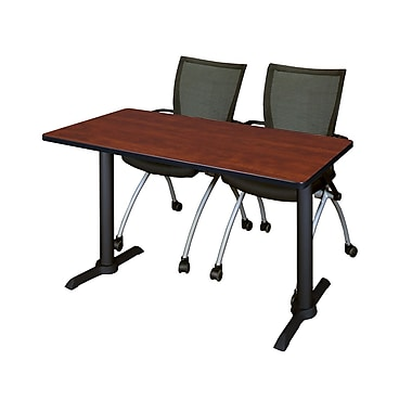 Regency 48'' Rectangular Training Table and Chairs, Cherry with Apprentice Chairs (MTRCT4824CH09BK)