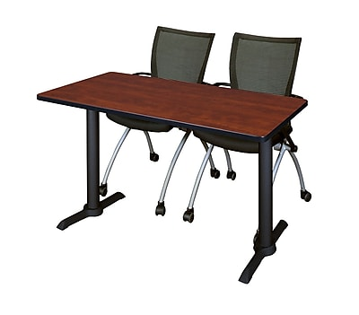 Regency 48-inch Metal & Wood Training Table with Apprentice Chairs, Cherry