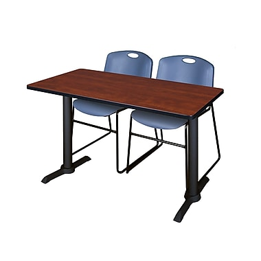 Regency Cain 48'' Rectangular Training Table and Chairs, Cherry with Zeng Chairs (MTRCT4824CH44BE)