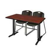 "Regency Cain 48"" x 24"" Rectangular Cherry Training Table with 2 Black Zeng Stack Chairs (MTRCT4824CH44BK)"