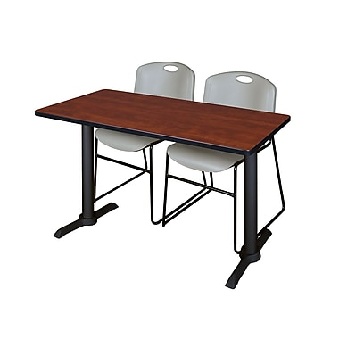 Regency Cain 48'' Rectangular Training Table and Chairs, Cherry with Zeng Chairs (MTRCT4824CH44GY)