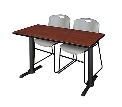 Regency Cain 48'' Rectangular Training Table and Chairs, Cherry w/ Zeng Chairs (MTRCT4824CH44GY)