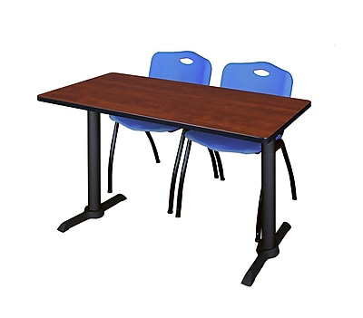 Regency Cain 48'' Rectangular Training Table and Chairs, Cherry w/ M Chairs (MTRCT4824CH47BE)