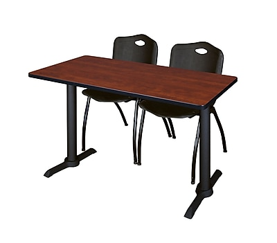 Regency Cain 48'' Rectangular Training Table and Chairs, Cherry w/ M Chairs (MTRCT4824CH47BK)