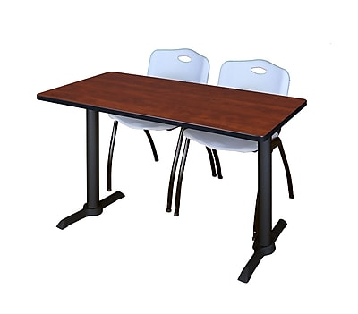 Regency Cain 48'' Rectangular Training Table and Chairs, Cherry w/ M Chairs (MTRCT4824CH47GY)