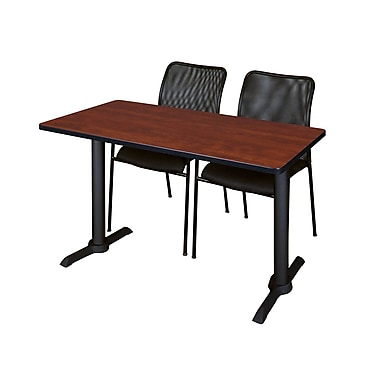 Regency Cain 48'' Rectangular Training Table and Chairs, Cherry with Mario Chairs (MTRCT4824CH75BK)
