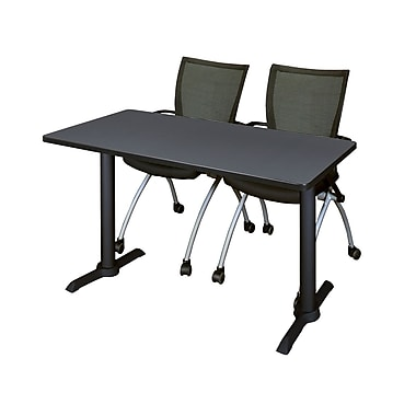 Regency Cain 48'' Rectangular Training Table and Chairs, Gray with Apprentice Chairs (MTRCT4824GY09BK)
