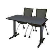 Regency Cain 48'' Rectangular Training Table and Chairs, Gray w/ Apprentice Chairs (MTRCT4824GY09BK)