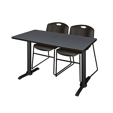 Regency Cain 48'' Rectangular Training Table and Chairs, Gray with Zeng Chairs (MTRCT4824GY44BK)