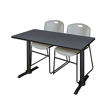 Regency Cain 48'' Rectangular Training Table and Chairs, Gray with Zeng Chairs (MTRCT4824GY44GY)