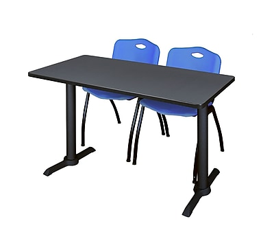Regency Cain 48'' Rectangular Training Table and Chairs, Gray w/ M Chairs (MTRCT4824GY47BE)