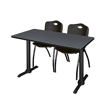 Regency 48'' Rectangular Training Table and Chairs, Woodtone w/ Stack Chairs (MTRCT4824GY47BK)