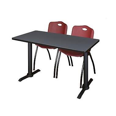 Regency Cain 48'' Rectangular Training Table and Chairs, Gray w/ M Chairs (MTRCT4824GY47BY)