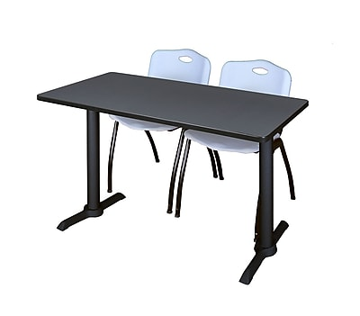 Regency Cain 48'' Rectangular Training Table and Chairs, Gray w/ M Chairs (MTRCT4824GY47GY)