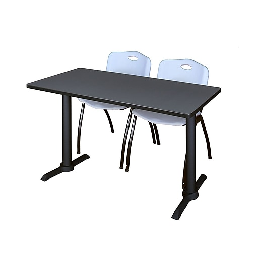 """Regency Cain 48"""" x 24"""" Training Table, Gray and 2 'M' Stack Chairs, Gray (MTRCT4824GY47GY)"""