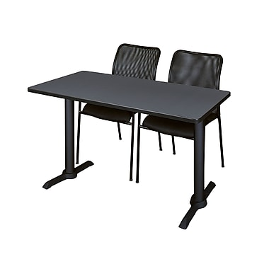 Regency Cain 48'' Rectangular Training Table and Chairs, Gray w/ Mario Chairs (MTRCT4824GY75BK)