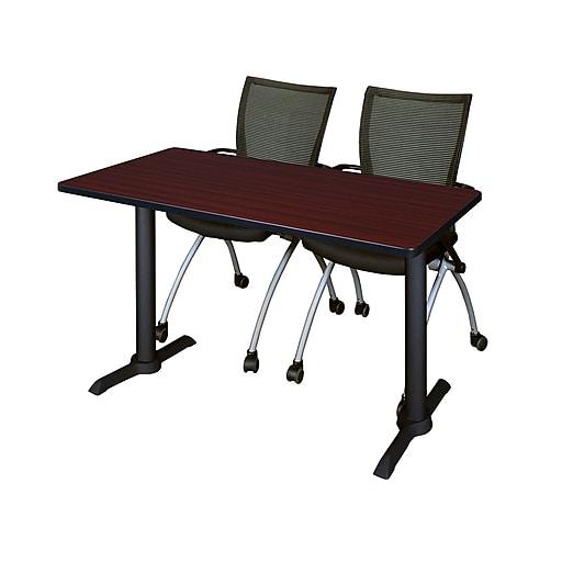 "Regency Cain 48""x24"" Training Mahogany Table w/2 Apprentice Black Chairs (MTRCT4824MH09BK)"