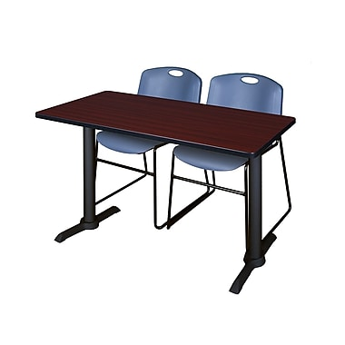 Regency Cain 48'' Rectangular Training Table and Chairs, Mahogany with Zeng Chairs (MTRCT4824MH44BE)