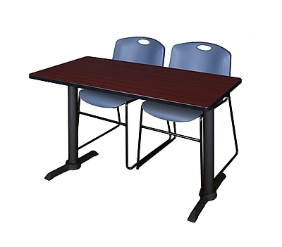 Regency Cain 48'' Rectangular Training Table and Chairs, Mahogany w/ Zeng Chairs (MTRCT4824MH44BE)