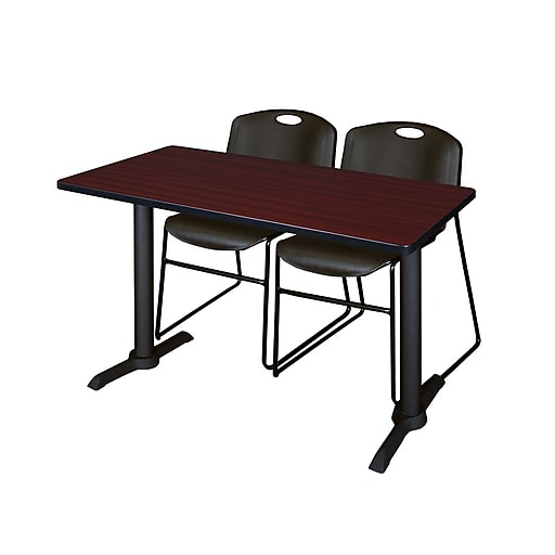 """Regency Cain 48"""" x 24"""" Training Table, Mahogany and 2 Zeng Stack Chairs, Black (MTRCT4824MH44BK)"""
