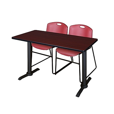 Regency 48'' Rectangular Training Table and Chairs, Mahogany w/ Zeng Chairs (MTRCT4824MH44BY)
