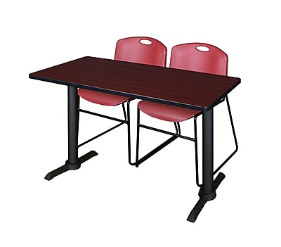 Regency 48-inch Metal & Wood Cain Mahogany Computer Table With Zeng Stack Chairs, Burgundy