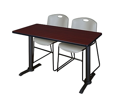 Regency 48-inch Metal & Wood Cain Mahogany Computer Table With Zeng Stack Chairs, Gray