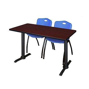 Regency Cain 48'' Rectangular Training Table and Chairs, Mahogany with Stack Chairs (MTRCT4824MH47BE)