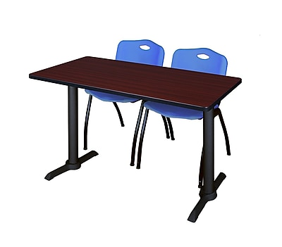 Regency Cain 48'' Rectangular Training Table and Chairs, Mahogany w/ Stack Chairs (MTRCT4824MH47BE)