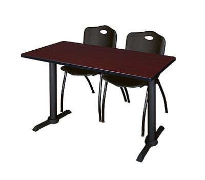Regency 48-inch Metal & Wood Cain Mahogany Computer Table with Stack Chairs, Black