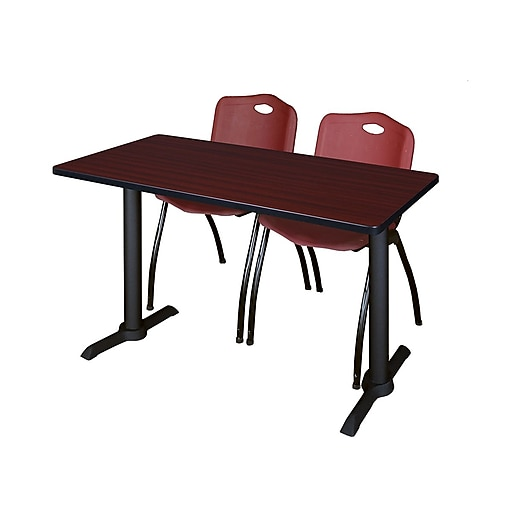 Regency 48-inch Metal & Wood Cain Mahogany Computer Table with Stack Chairs, Burgundy