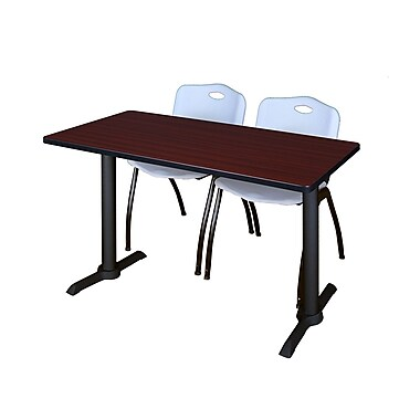 Regency Cain 48'' Rectangular Training Table and Chairs, Mahogany with Stack Chairs (MTRCT4824MH47GY)