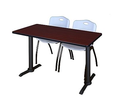 Regency Cain 48'' Rectangular Training Table and Chairs, Mahogany w/ Stack Chairs (MTRCT4824MH47GY)
