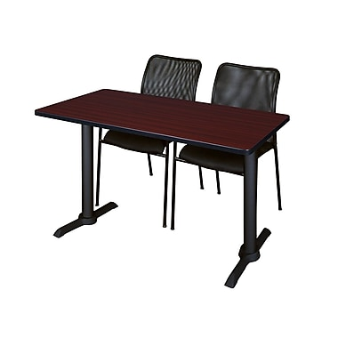 Regency Cain 48'' Rectangular Training Table and Chairs, Mahogany with Mario Chairs (MTRCT4824MH75BK)