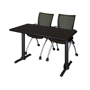 Regency 48'' Rectangular Training Table and Chairs, Mocha Walnut with Apprentice Chairs (MTRCT4824MW09BK)