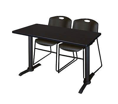Regency 48-inch Metal & Wood Cain Mocha Walnut Computer Table with Zeng Stack Chairs, Black