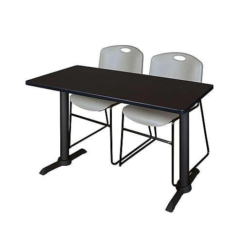 """Regency Cain 48"""" x 24"""" Training Table, Mocha Walnut and 2 Zeng Stack Chairs, Gray (MTRCT4824MW44GY)"""