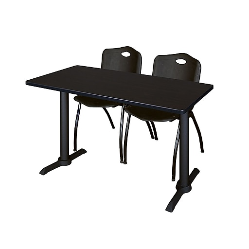"Regency Cain 48"" x 24"" Training Table, Mocha Walnut and 2 'M' Stack Chairs, Black MTRCT4824MW47BK()"