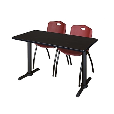 Regency 48'' Rectangular Training Table and Chairs, Woodtone with Stack Chairs, Burgundy (MTRCT4824MW47BY)