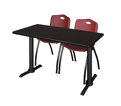 Regency 48-inch Metal & Wood Computer Table with Stack Chairs, Burgundy