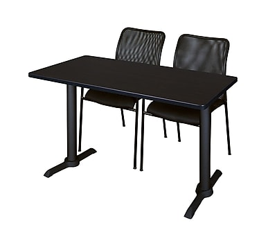 Regency 48-inch Laminate, Metal & Wood Cain Training Table with Mario Stack Chairs, Mocha Walnut